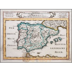 SPAIN PORTUGAL ORIGINAL ANTIQUE MAP BY BODENEHR 1720