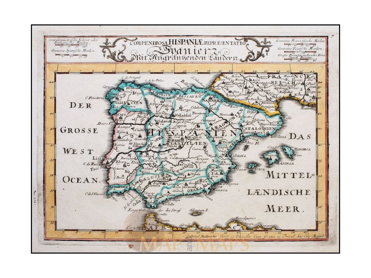 Map 24 Spain.Spain Portugal Old Maps Of The Iberian Peninsula Mapandmaps Map