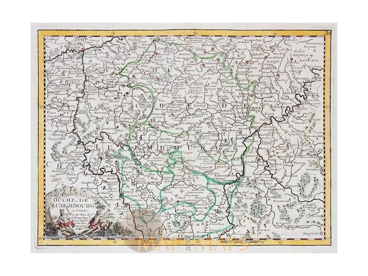 Antique map of the Duchy and Grand Duchy of Luxembourg, by Le Rouge ...