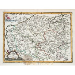 La Flandre Le Haynaut Old antique map Flanders Le Rouge 1756