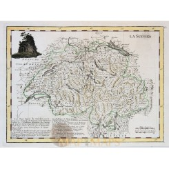 Switzerland antique map, La Suisse mapmaker Le Rouge 1748