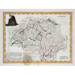 La Suisse canton Switserland Old map Le Rouge 1743
