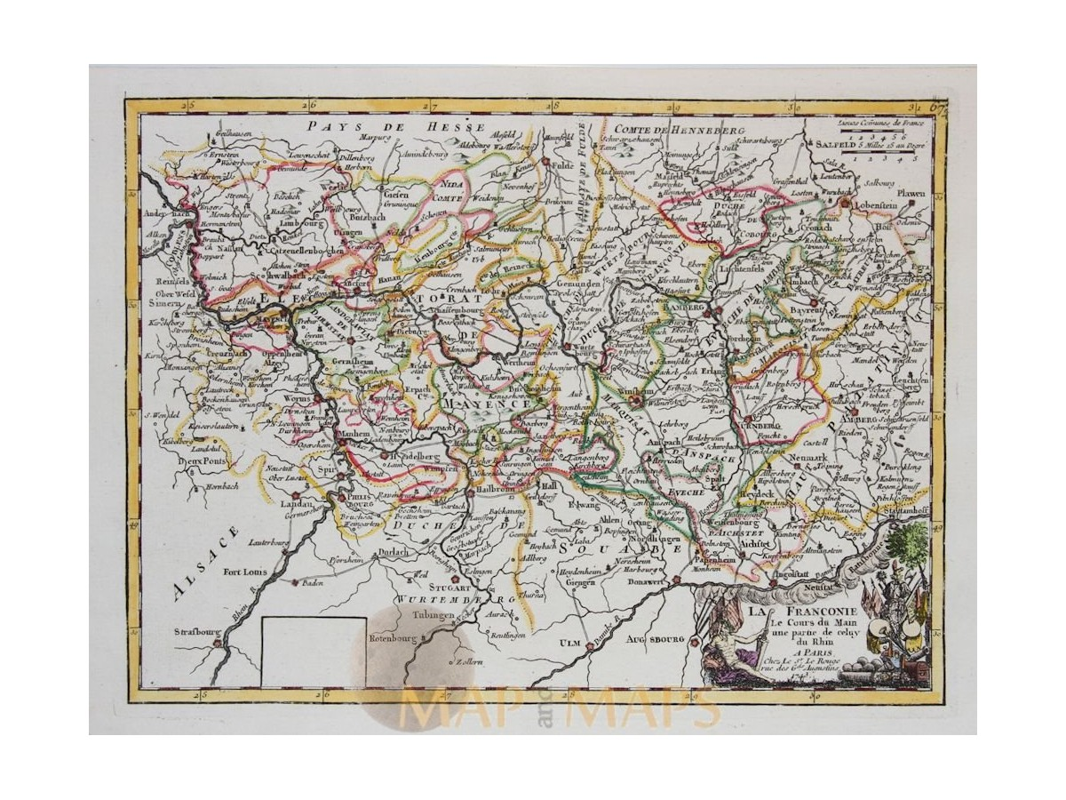 Germany Koblenz course Rhine Old map Le Rouge 1743. Loading zoom