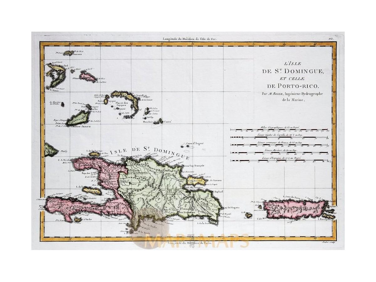 Santo Domingo Puerto Rico Caribbean map Bonne 1780 ...
