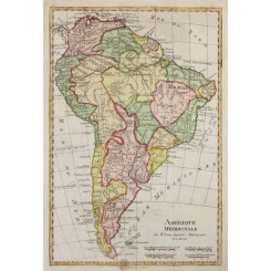 Antique map of South America, copper plate engraved map, by Rigobert Bonne 1787