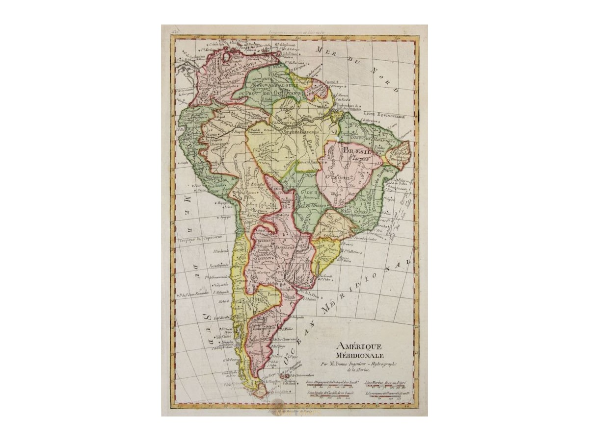 Colonial South America Map.South America Maps Amerique Meridionale Par M Bonne