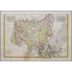 Antique map of Asia, Old copper plate map by Rigobert Bonne 1787