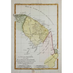 FRANCE AND DUTCH GUYANA, SURINAM, ANTIQUE MAP SOUTH AMERICA BY BONNE 1787