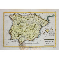 Antique map Spain Portugal Hispanis Cellarius 1796