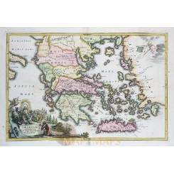 ANTIQUE MAP GREECE GRAECIAE ANTIQUAE OLD ENGRAVING CELLARIUS 1731