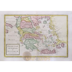 Greece Balkans old map Graeciae Antiquae Cellarius 1796