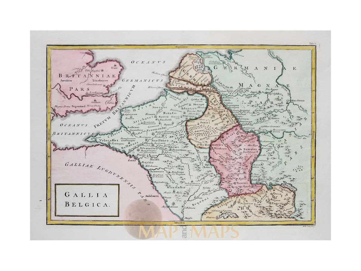 Low Countries antique map Gallia Belgica Cellarius 1796 | eBay on
