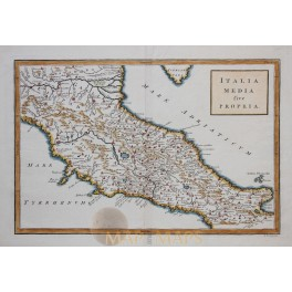 ITALYA MEDIA sive PROPRIA antique map Cellarius 1796