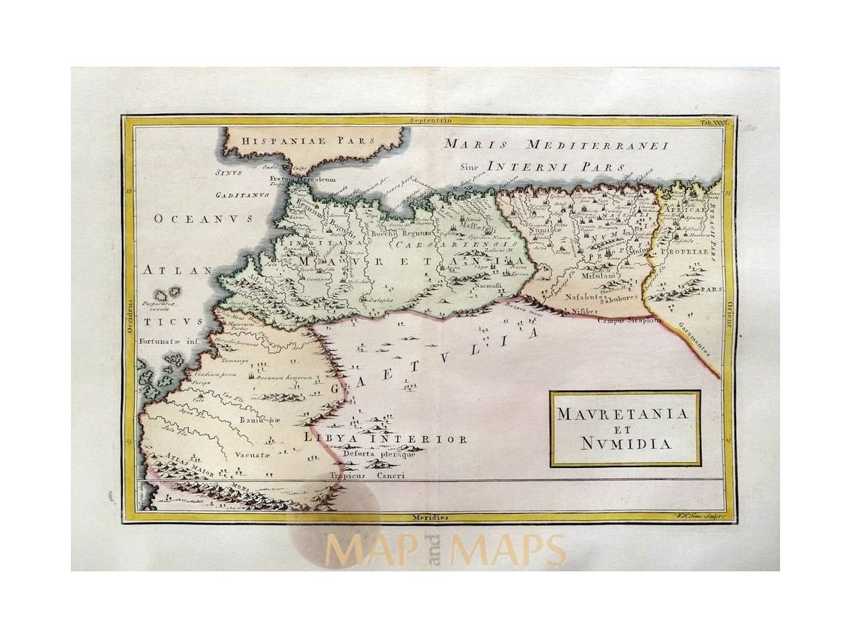 Africa Mauretania et Numidia Tunisia Morocco old map Cellarius 1796 ...