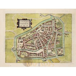 Lewardum Occidentalis Frisiae. old plan Leeuwarden Guicciardini 1613