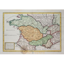 France in ancient times old map Cellarius 1796