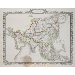 Asia Old Antique steel plate map by Rapkin Tallis 1860