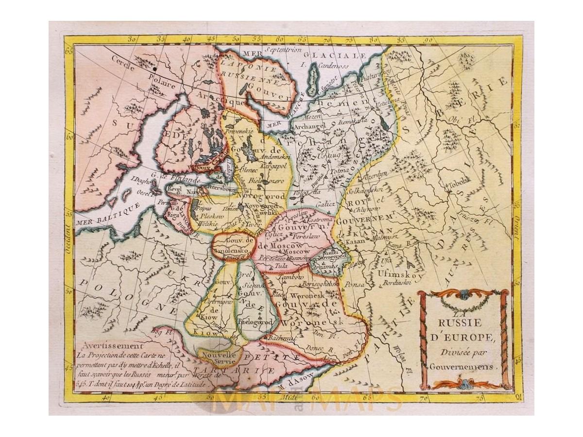 Russia Old map La Russie d Europe Divisee la Porte 1786