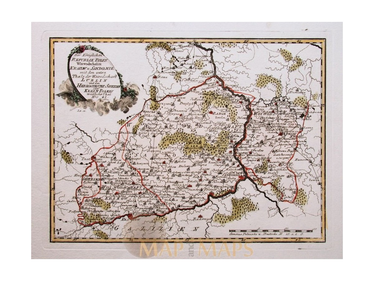 Poland Krakow Antique Old Map Rebublik Polen Reilly M M