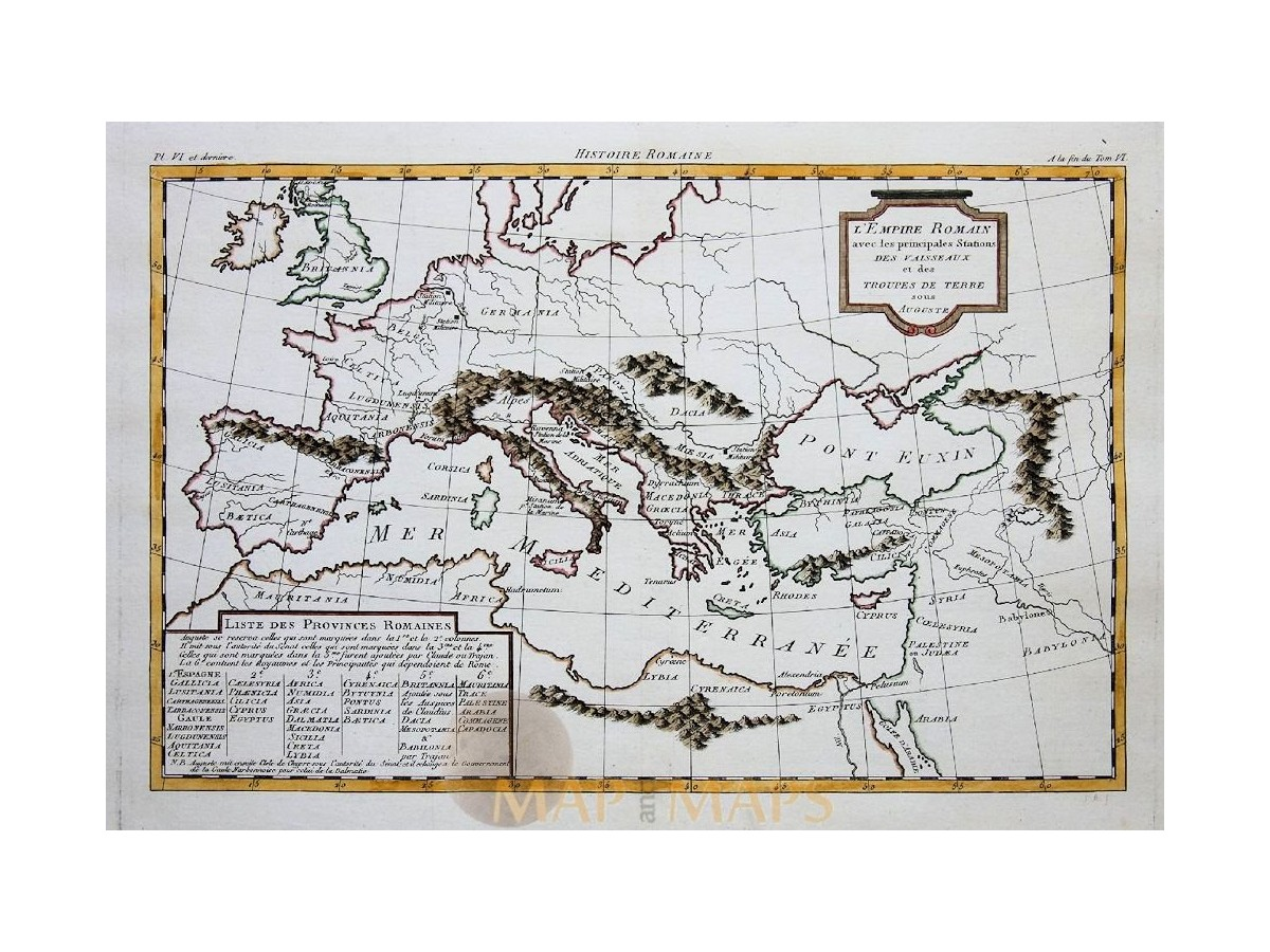 1875 Antique Historical Map ~ The Roman Empire Europe Asia Minor Italy Germany Antiques