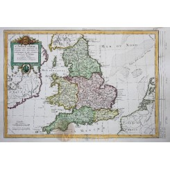 England and Wales Antique map L'Angleterre Philippe 1787