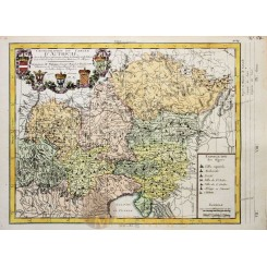 KINGDOM OF AUSTRIA WITH COAT OF ARMS, ANTIQUE MAP PHILIPPE 1787