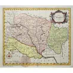 ANTIQUE MAP OF HUNGARY, TRANSYLVANIA, SCLAVONIA BY GIBSON 1753