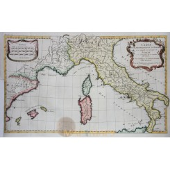 Italy Sardinia Old map l'Expedition D'Annibal by Anville 1739