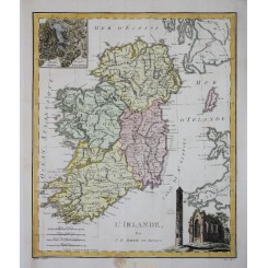 Ireland Old Antique Map L' Irlande Barbie du Bocage 1783