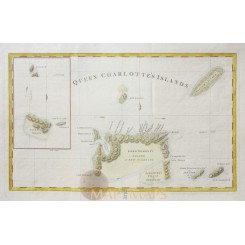 Queen Charlotte's Simson's and Gower's Islands old map by Hogg 1784