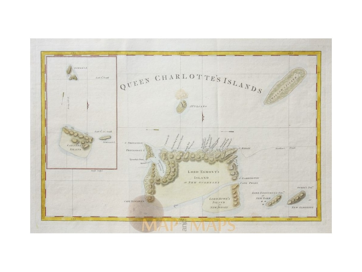 Islands Of Canada Map.Canada Old Map Queen Charlottes Islands Hogg 1773