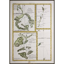 Japan map, La Baye D'Awatska Macau by Bonne 1780