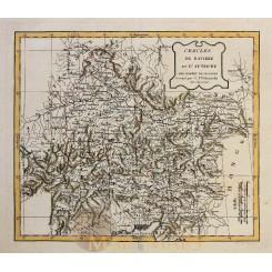 Bavaria and Austria ANTIQUE MAP Cercles de Baviere et d'Autriche VAUGONDY 1762