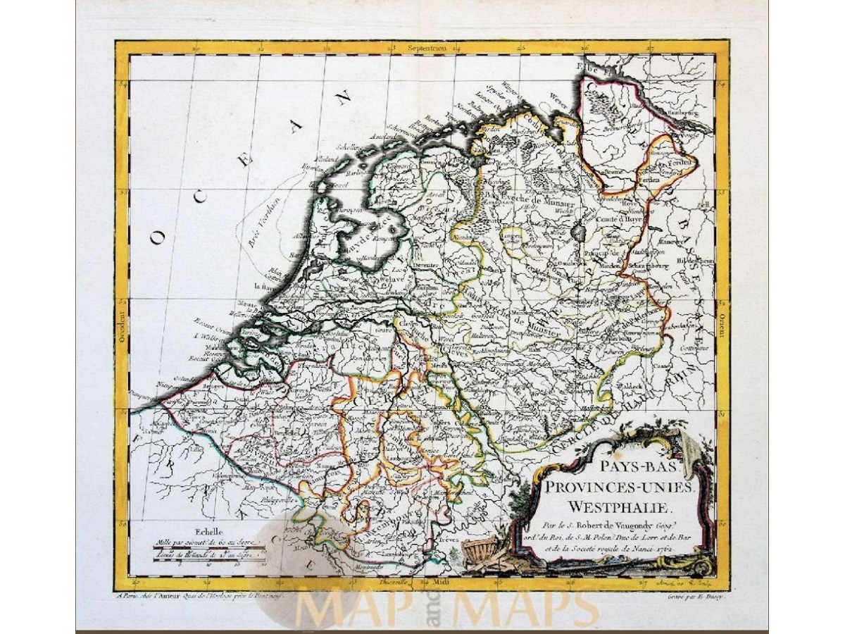 Map Of Holland And Germany.Holland Germany Old Map Pays Bas Vaugondy M M