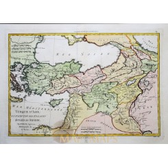 Turkey in Asia Antique Old Map Turque D Asie Bonne 1780
