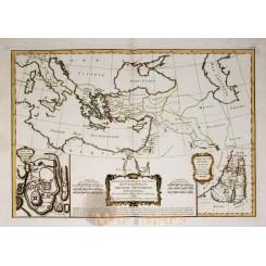 Holy land Jerusalem Historical map by Bonne 1782