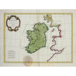 Carte D' Irlande old map Ireland by Rigobert Bonne 1771