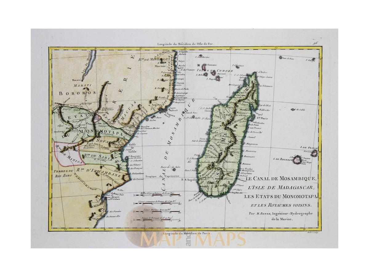Africa Old Maps Mozambique Madagascar By Bonne Mapandmaps