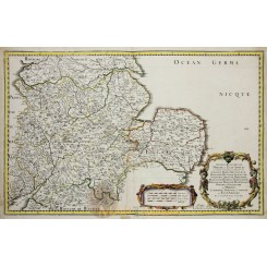 East England Historical old map East-Angles. Sanson 1654