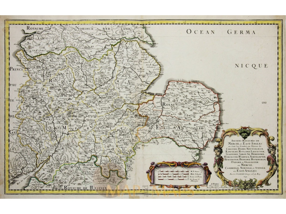East England Historical Old Map East Angles Sanson 1654 Mapandmaps