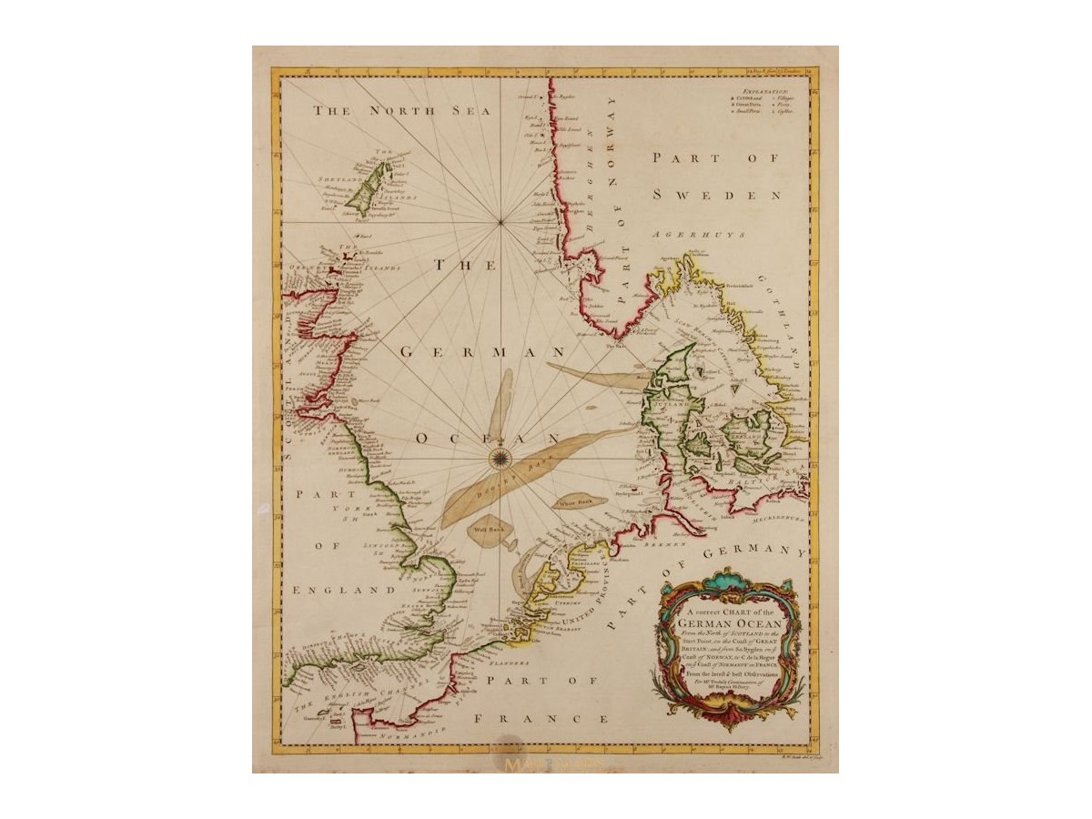 A Correct Chart Of The German Ocean Old Rapin Tindal 1743 Loading Zoom