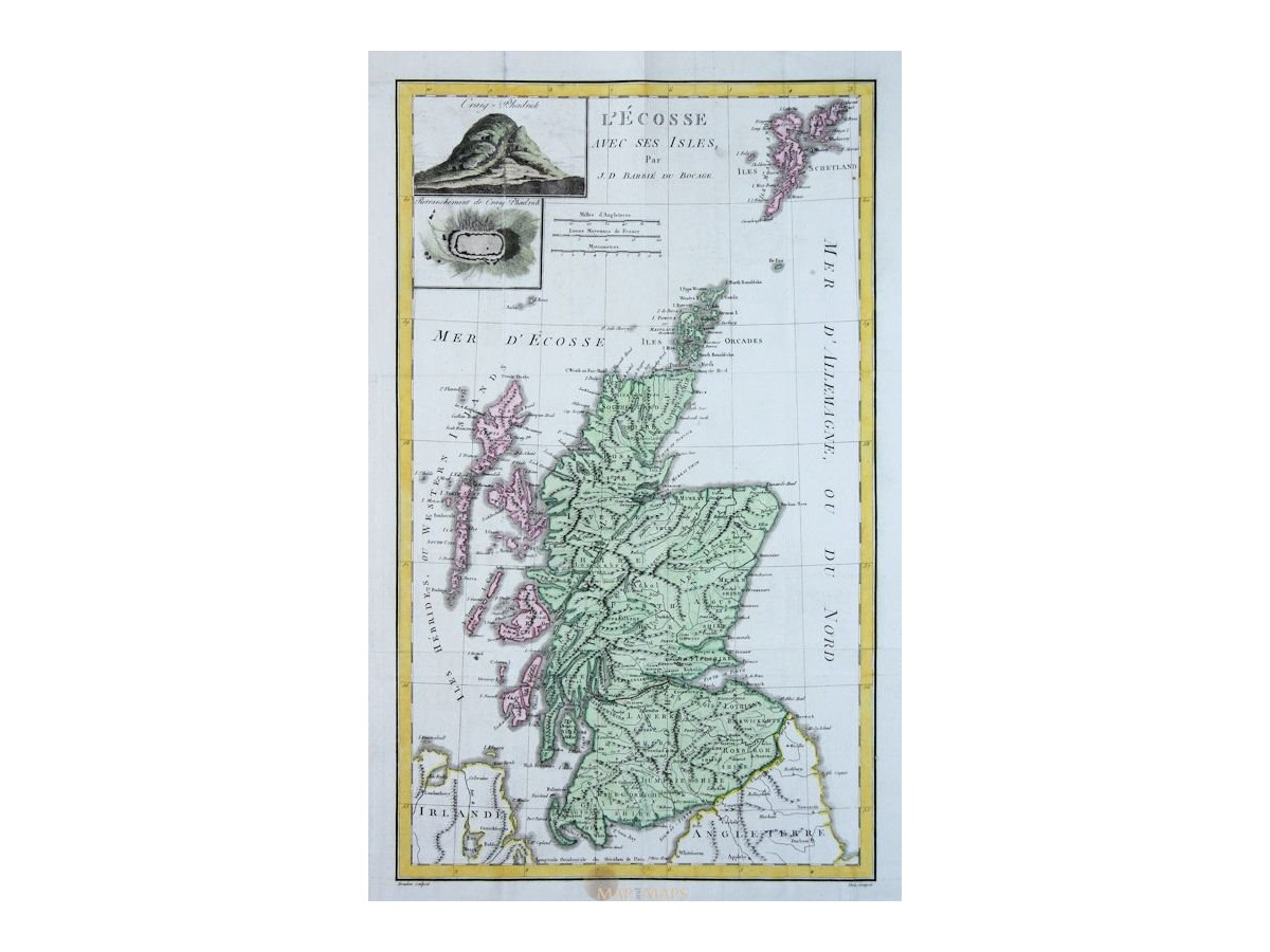 Scotland Craig Phadrich Old map L' Écosse Barbie 1783