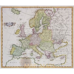 EUROPE CONTINENT ANTIQUE MAP EUROPEAN REGIONS BY MOLL HARRIS 1705