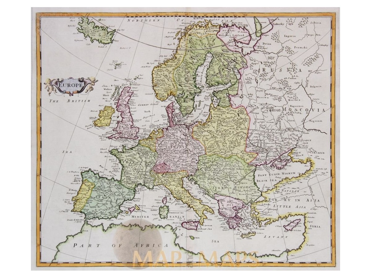 Europe Antique Map large Sweden and Poland / Moll | Mapandmaps