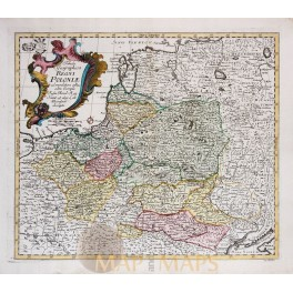 Tabula Geographica Regni Poloniae Antique map Poland Leonhard Euler 1760