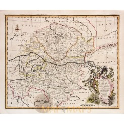 South East part of Germany Kingdom Bohemia Old map Bowen 1743