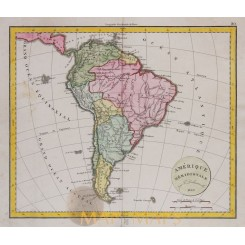 South America antique map by Delacharche 1829