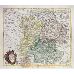 Mappa geographica Sveviae early map Switzerland by Euller 1760