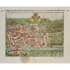 L'Effigie de la ville de Saleurre old map Solathum Munster 1552