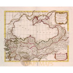 Turkey, Armenia, Ukraine, antique map d'Anville 1726